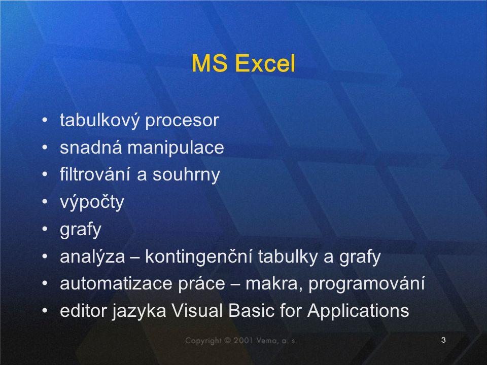 MS Excel tabulkový procesor snadná manipulace filtrování a souhrny