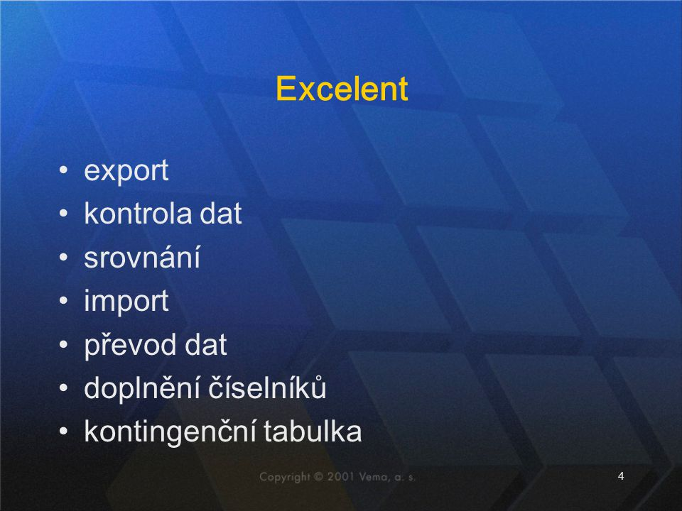 Excelent export kontrola dat srovnání import převod dat
