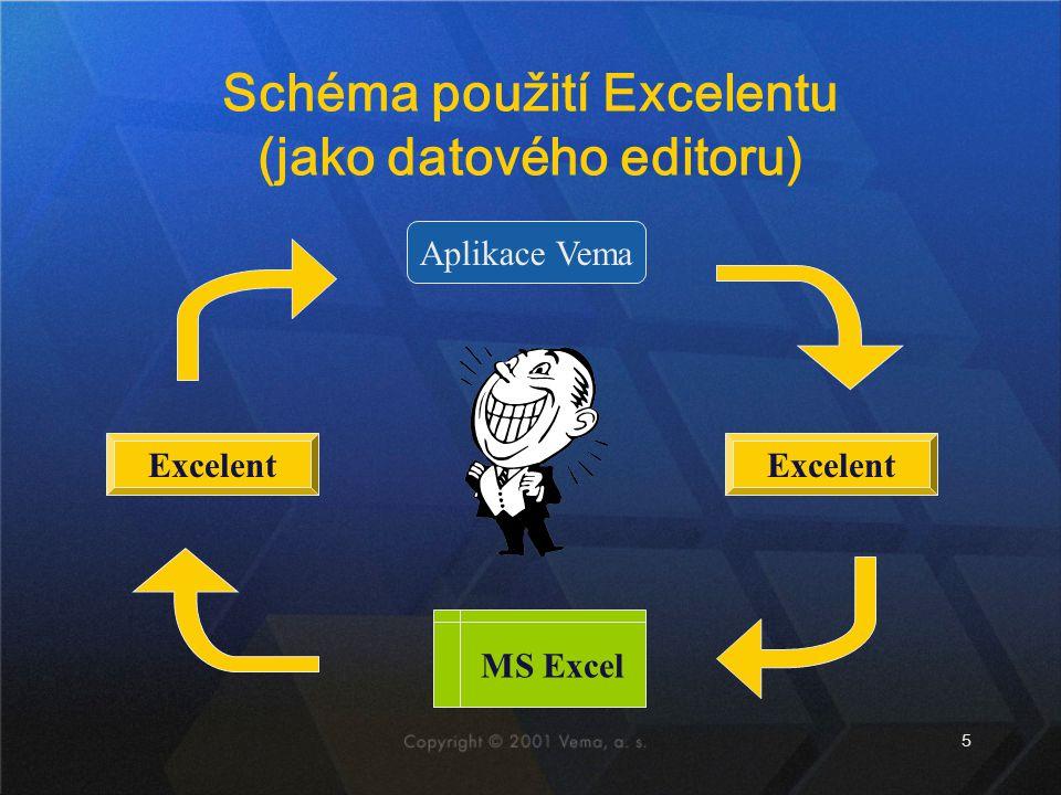 Schéma použití Excelentu (jako datového editoru)