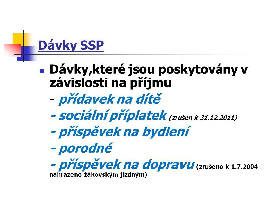 Dávky SSP Dávky,které jsou poskytovány v závislosti na příjmu. - přídavek na dítě. - sociální příplatek (zrušen k 31.12.2011)