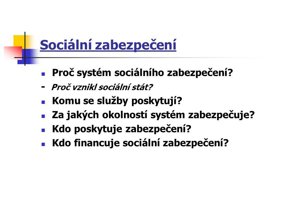 Sociální zabezpečení Proč systém sociálního zabezpečení