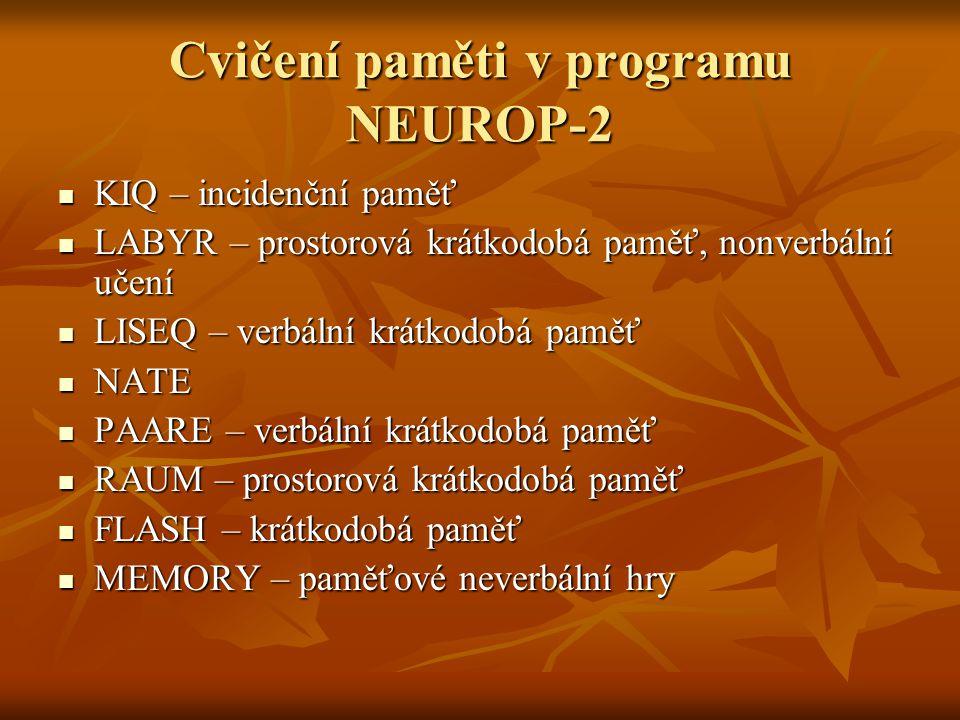 Cvičení paměti v programu NEUROP-2