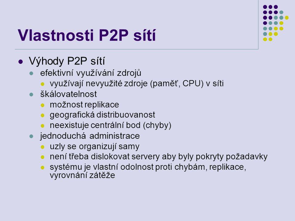 Vlastnosti P2P sítí Výhody P2P sítí efektivní využívání zdrojů