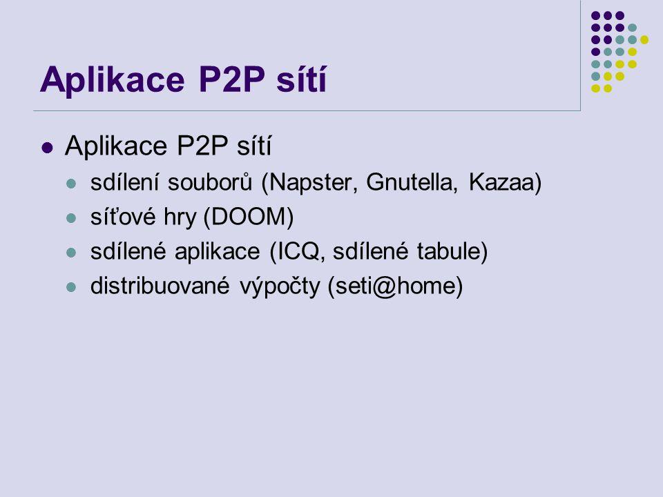 Aplikace P2P sítí Aplikace P2P sítí