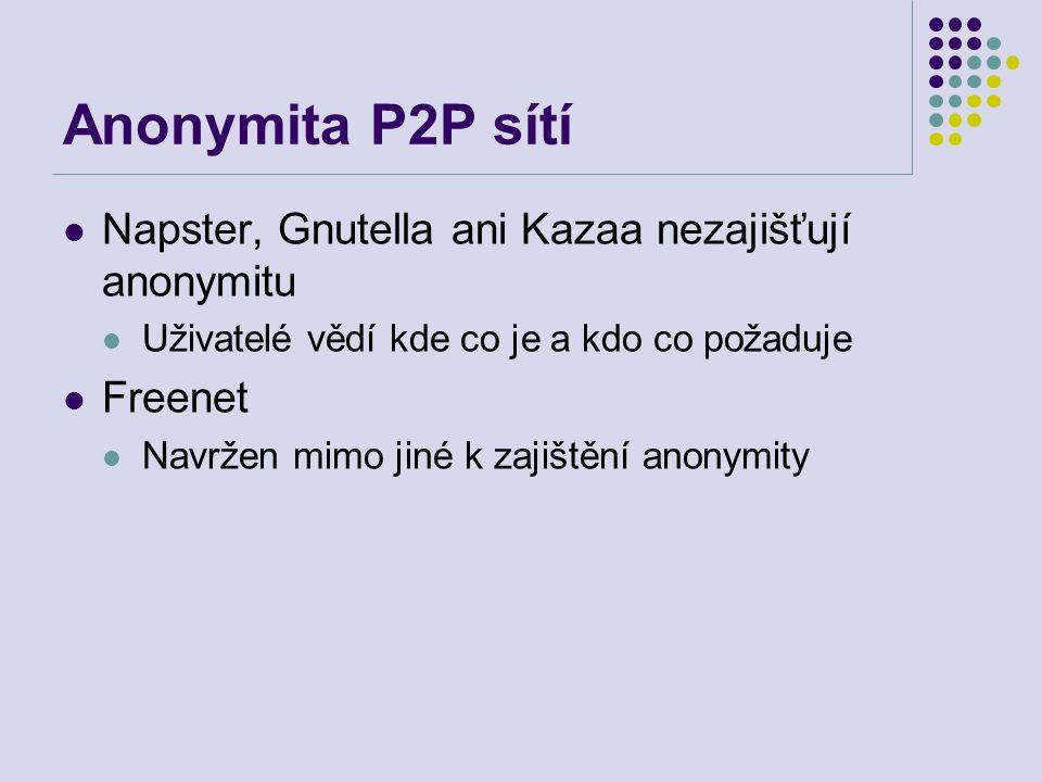 Anonymita P2P sítí Napster, Gnutella ani Kazaa nezajišťují anonymitu