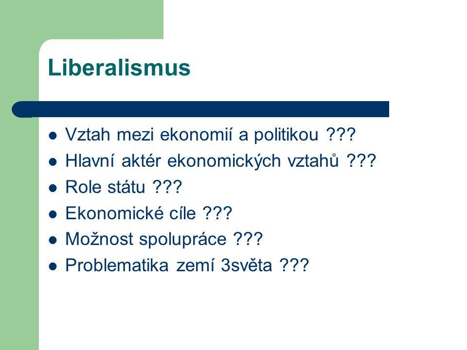 Liberalismus Vztah mezi ekonomií a politikou