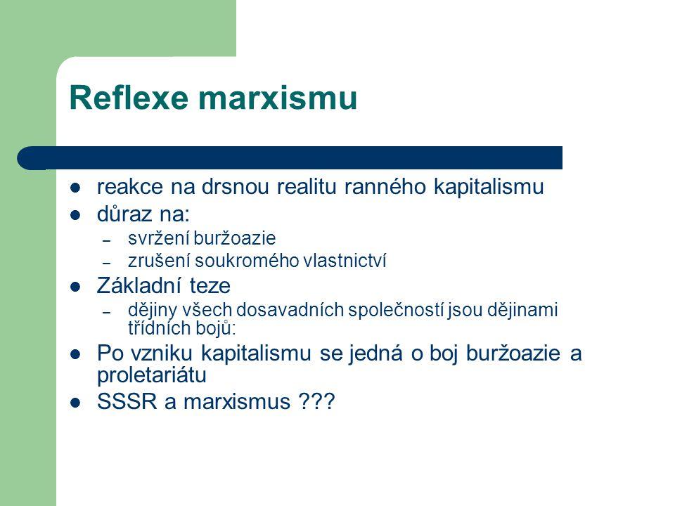 Reflexe marxismu reakce na drsnou realitu ranného kapitalismu