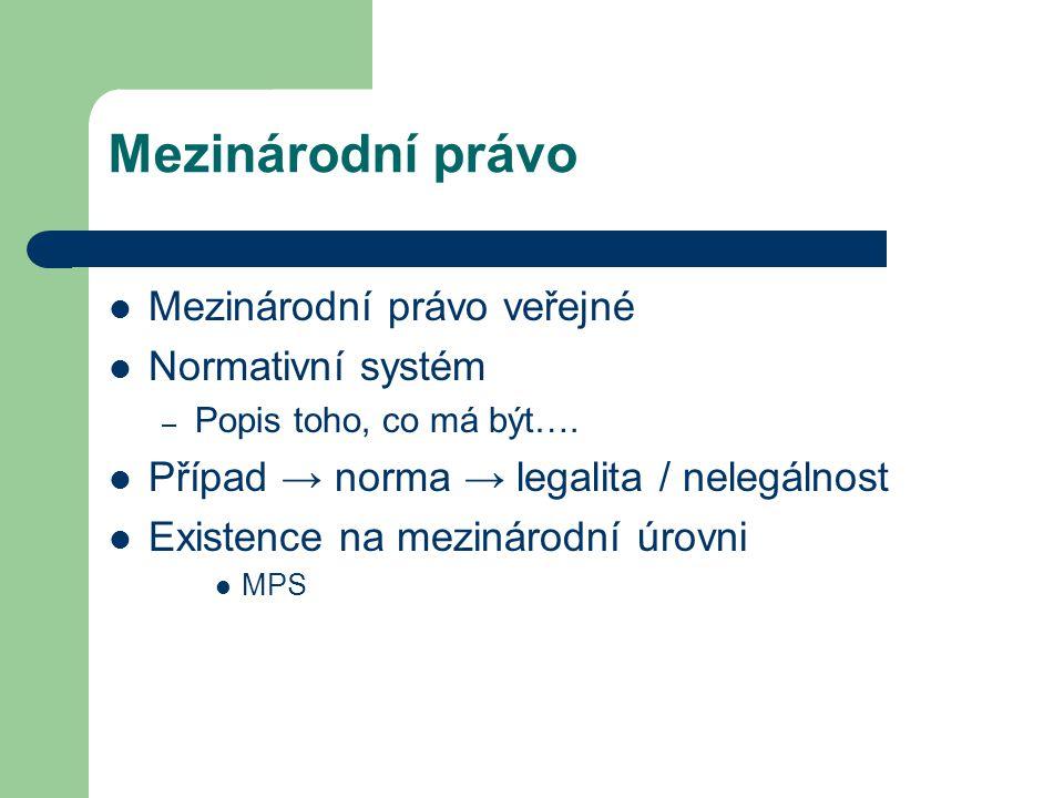 Mezinárodní právo Mezinárodní právo veřejné Normativní systém