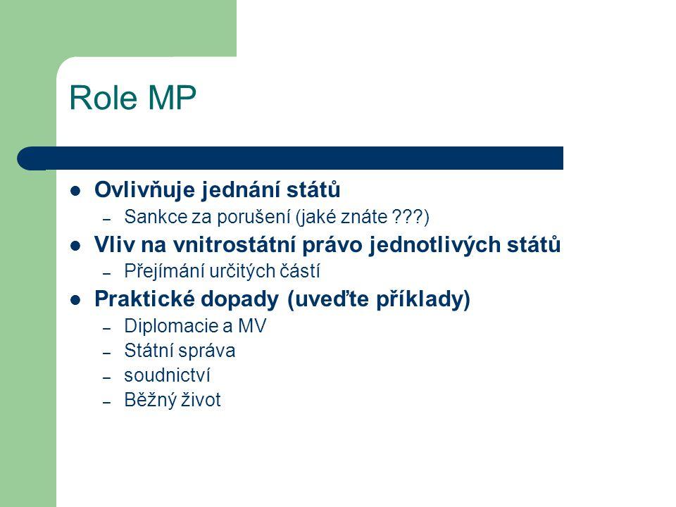 Role MP Ovlivňuje jednání států
