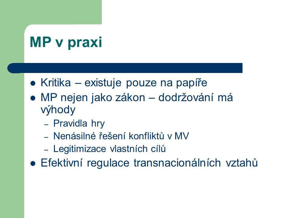 MP v praxi Kritika – existuje pouze na papíře