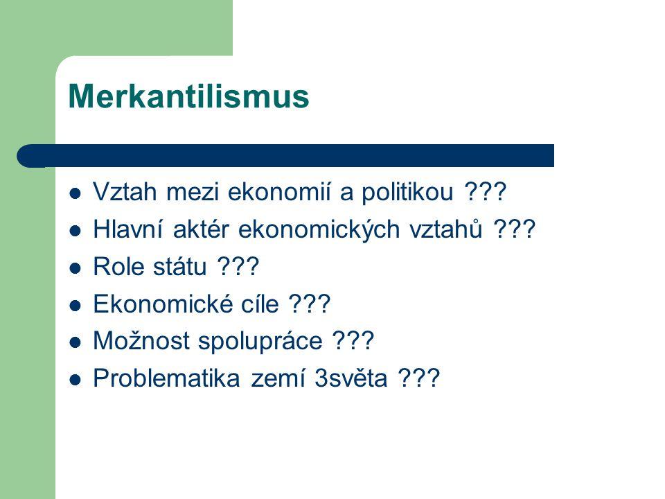 Merkantilismus Vztah mezi ekonomií a politikou