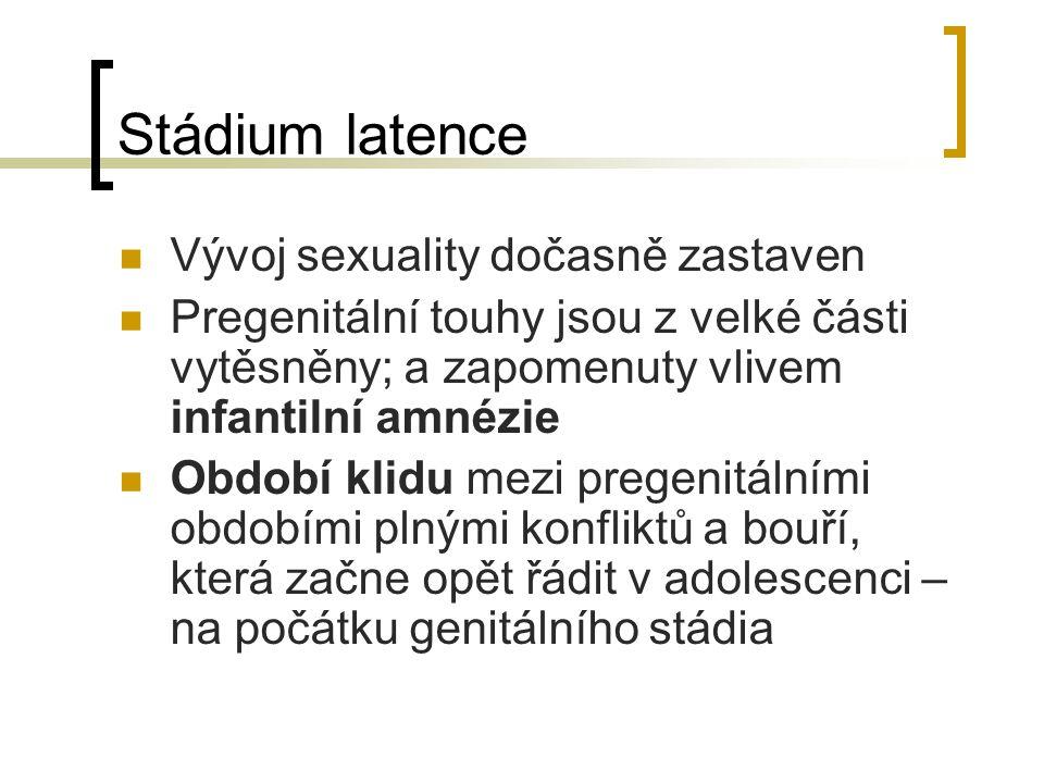 Stádium latence Vývoj sexuality dočasně zastaven