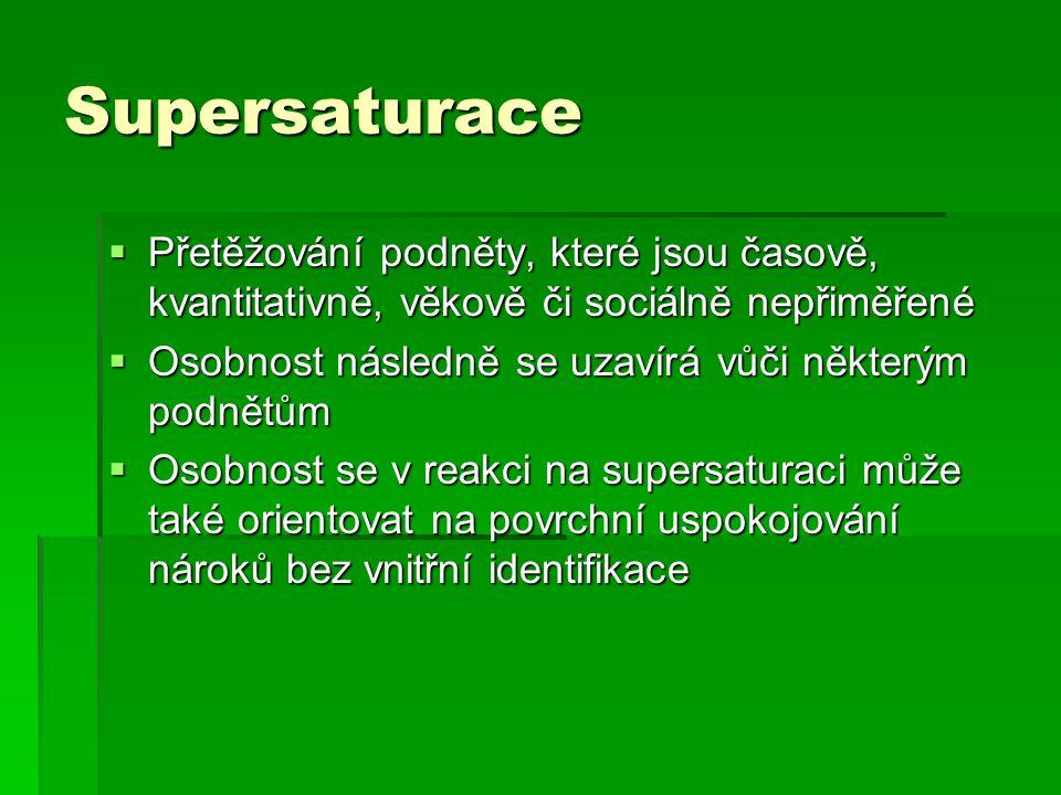 Supersaturace Přetěžování podněty, které jsou časově, kvantitativně, věkově či sociálně nepřiměřené.