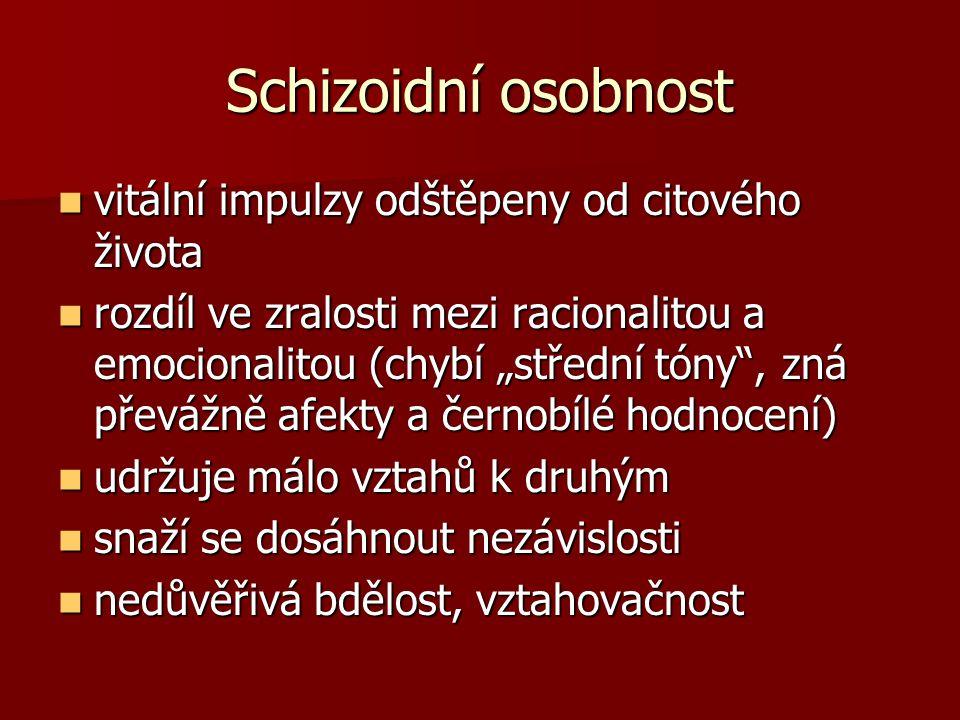 Schizoidní osobnost vitální impulzy odštěpeny od citového života