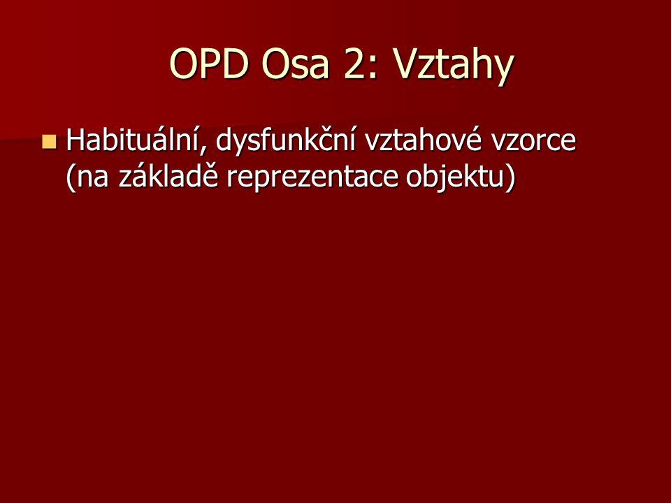 OPD Osa 2: Vztahy Habituální, dysfunkční vztahové vzorce (na základě reprezentace objektu)