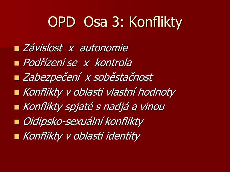 OPD Osa 3: Konflikty Závislost x autonomie Podřízení se x kontrola