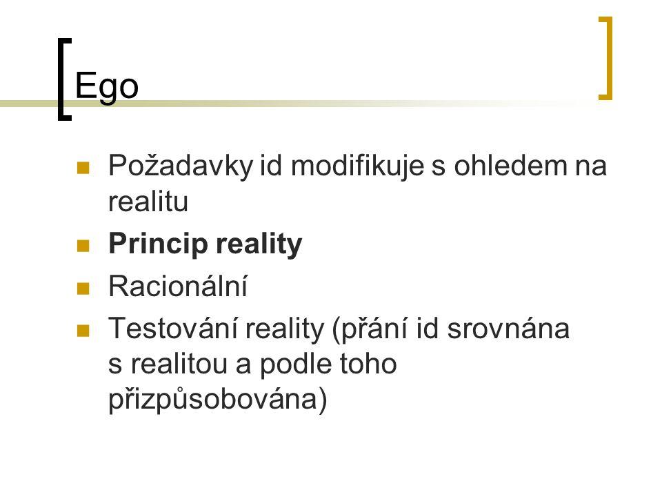 Ego Požadavky id modifikuje s ohledem na realitu Princip reality