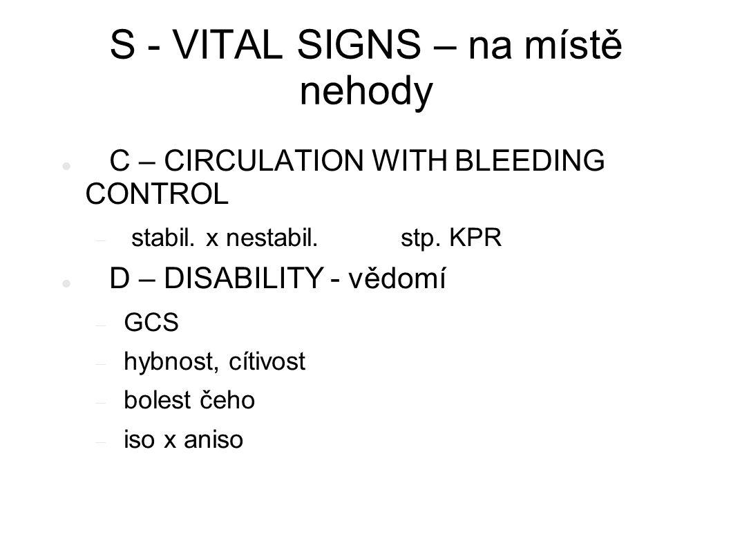 S - VITAL SIGNS – na místě nehody