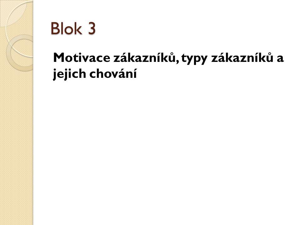 Blok 3 Motivace zákazníků, typy zákazníků a jejich chování