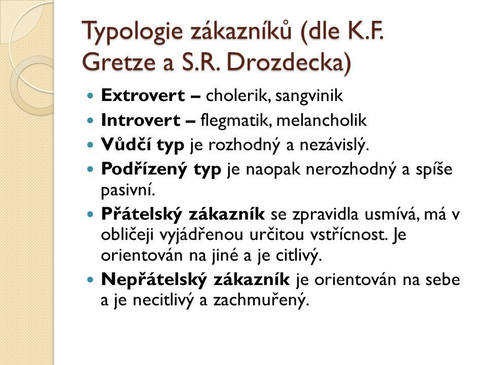 Typologie zákazníků (dle K.F. Gretze a S.R. Drozdecka)