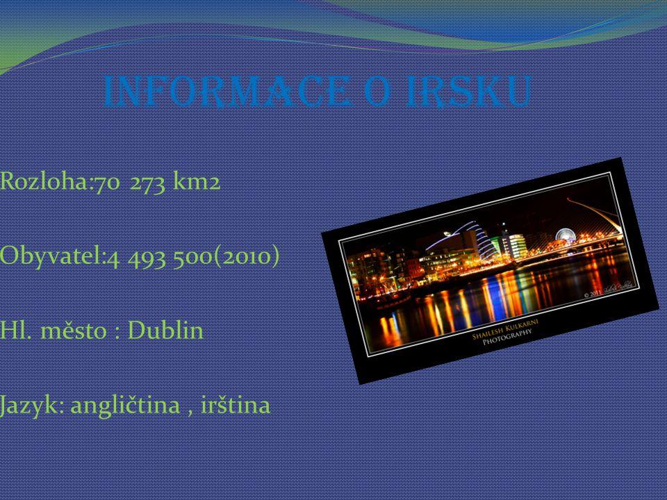 Informace o Irsku Rozloha:70 273 km2 Obyvatel:4 493 500(2010) Hl.