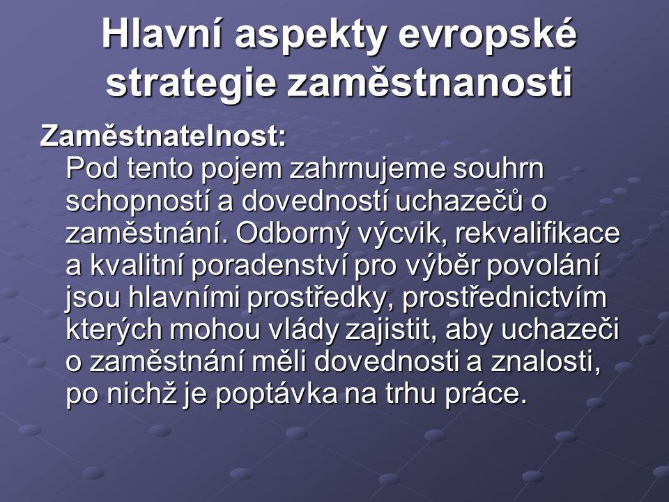 Hlavní aspekty evropské strategie zaměstnanosti