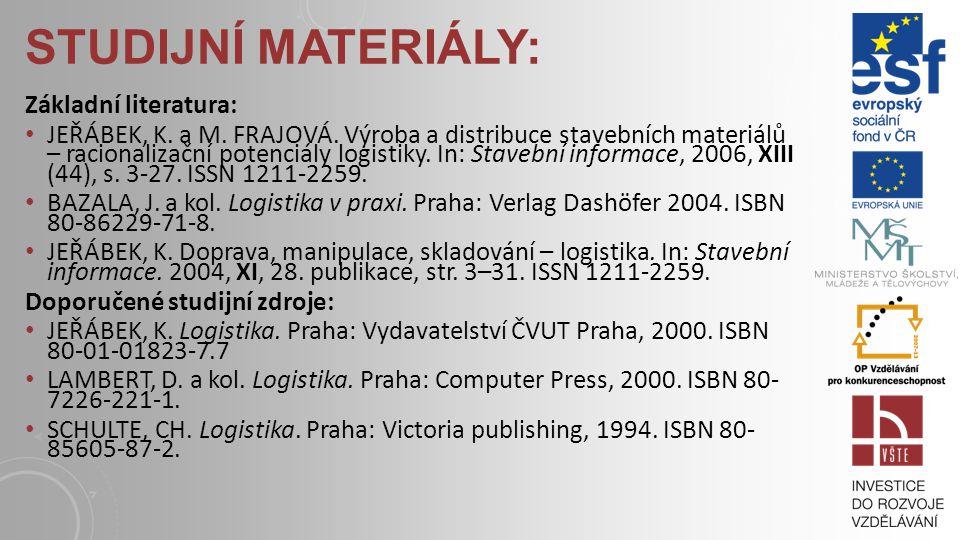 Studijní materiály: Základní literatura: