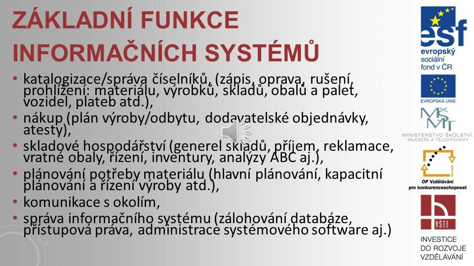 Základní funkce informačních systémů