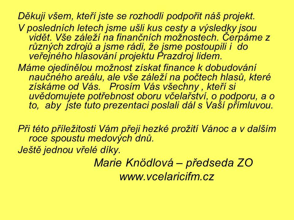 Marie Knödlová – předseda ZO www.vcelaricifm.cz