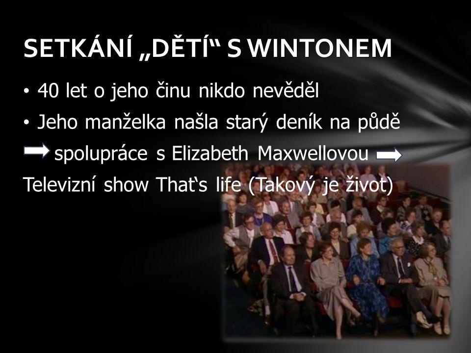 """SETKÁNÍ """"DĚTÍ S WINTONEM"""