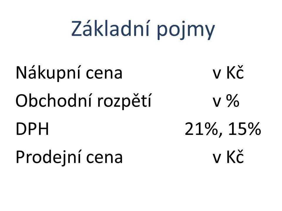 Nákupní cena v Kč Obchodní rozpětí v % DPH 21%, 15% Prodejní cena v Kč