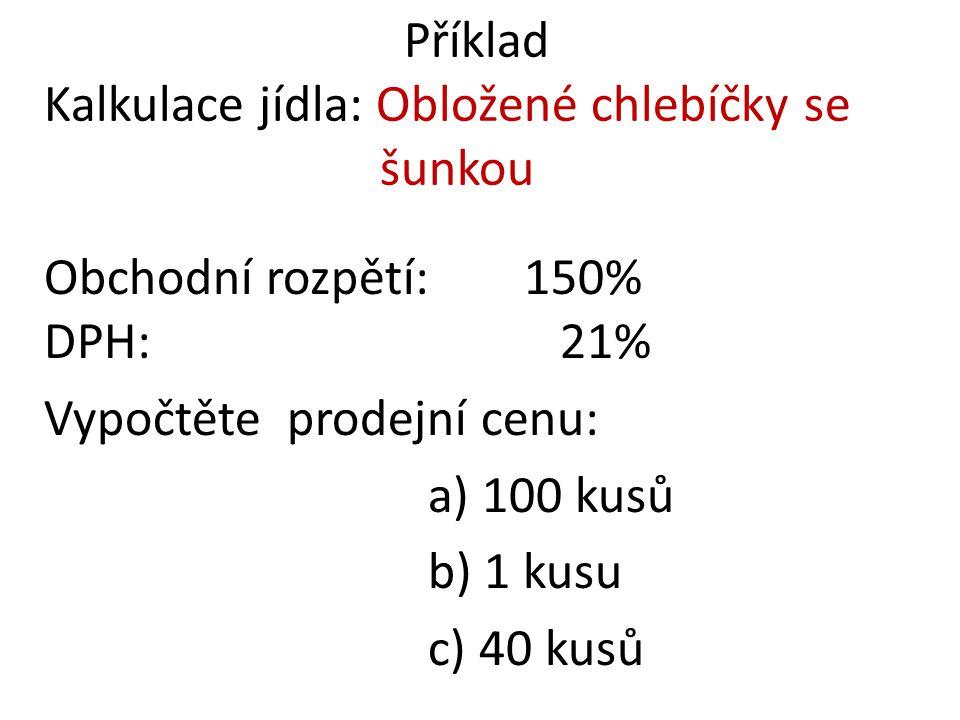 Příklad Kalkulace jídla: Obložené chlebíčky se šunkou