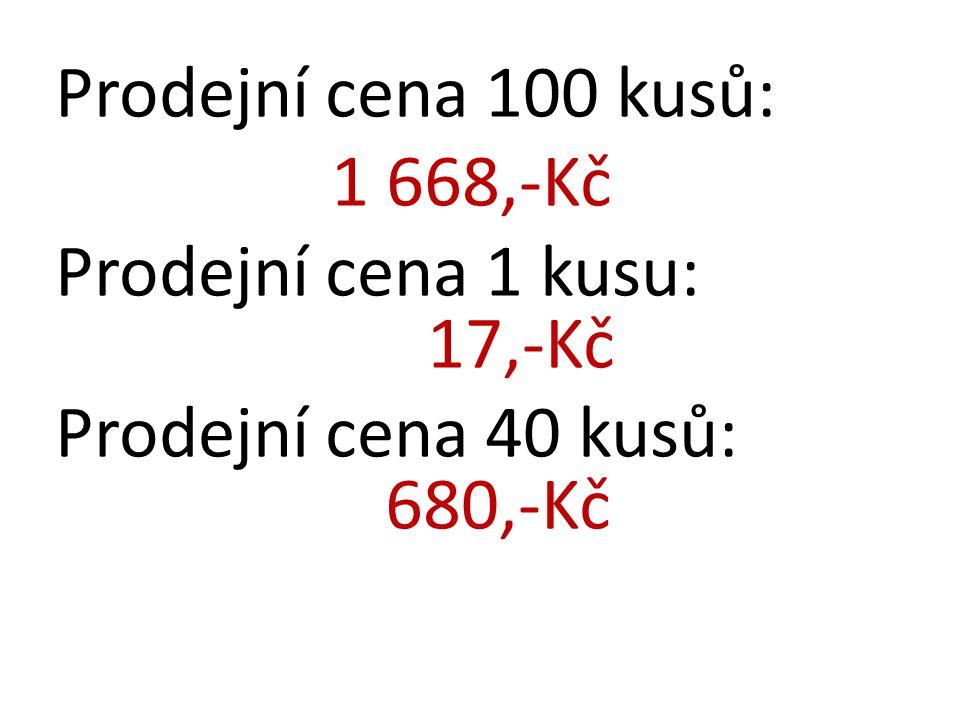 Prodejní cena 100 kusů: 1 668,-Kč. Prodejní cena 1 kusu: 17,-Kč.