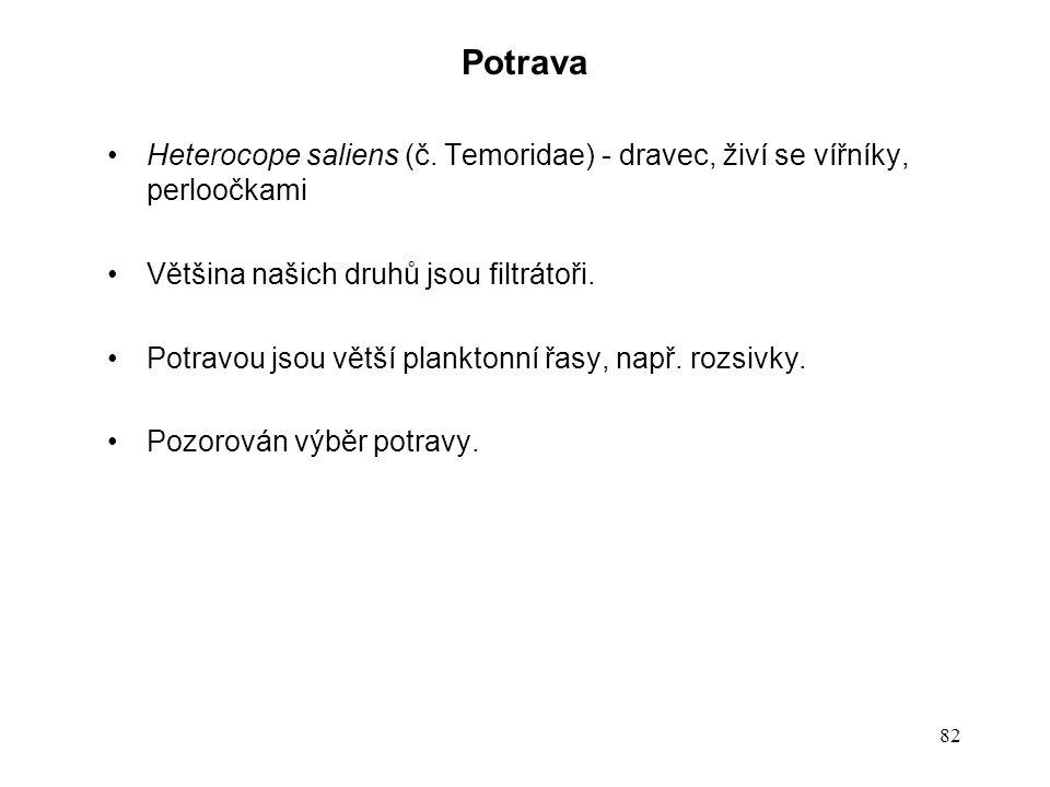 Potrava Heterocope saliens (č. Temoridae) - dravec, živí se vířníky, perloočkami. Většina našich druhů jsou filtrátoři.