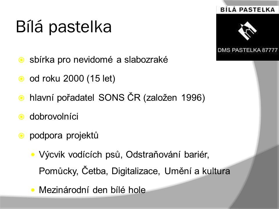 Bílá pastelka sbírka pro nevidomé a slabozraké od roku 2000 (15 let)