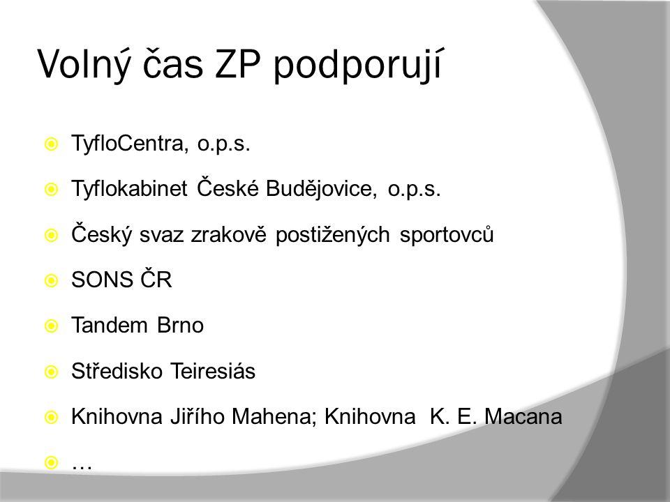 Volný čas ZP podporují TyfloCentra, o.p.s.