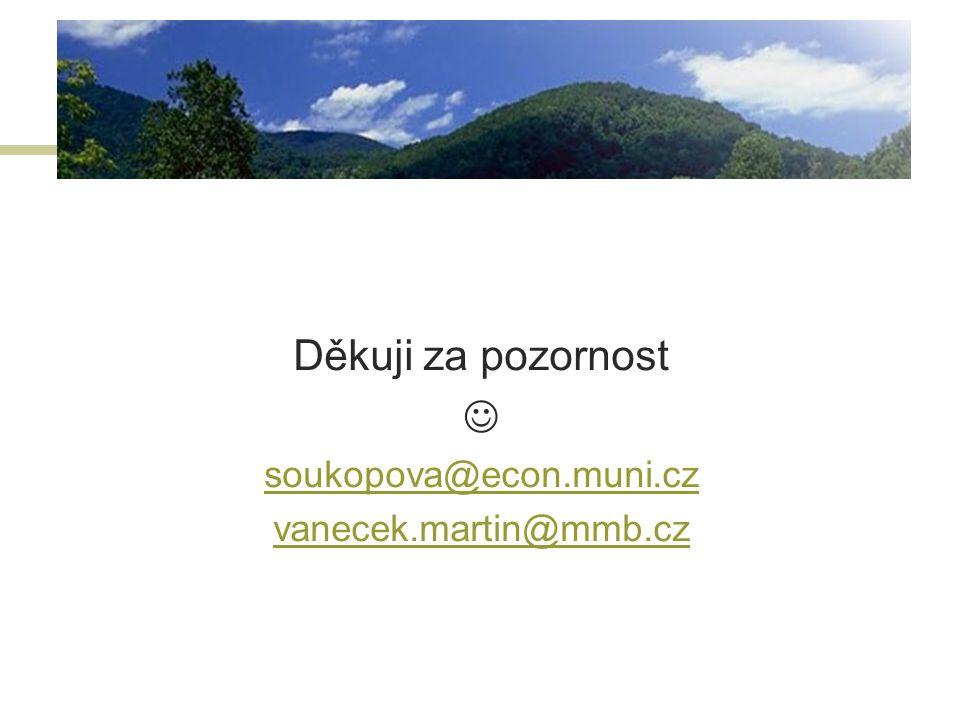 Děkuji za pozornost  soukopova@econ.muni.cz vanecek.martin@mmb.cz