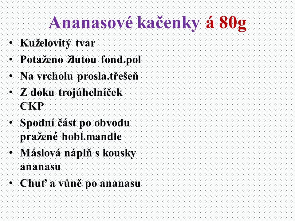 Ananasové kačenky á 80g Kuželovitý tvar Potaženo žlutou fond.pol