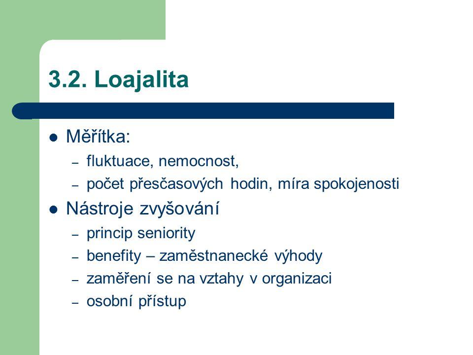 3.2. Loajalita Měřítka: Nástroje zvyšování fluktuace, nemocnost,