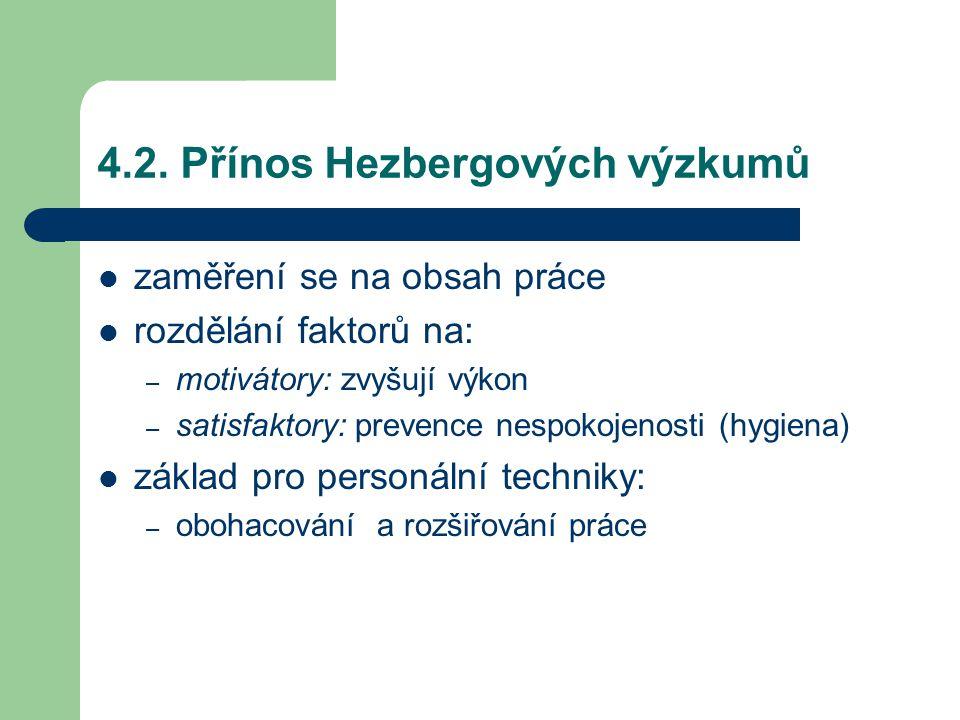 4.2. Přínos Hezbergových výzkumů
