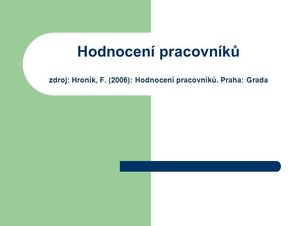 Hodnocení pracovníků zdroj: Hroník, F. (2006): Hodnocení pracovníků