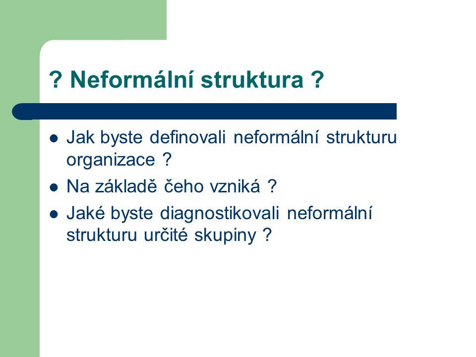 Neformální struktura Jak byste definovali neformální strukturu organizace Na základě čeho vzniká