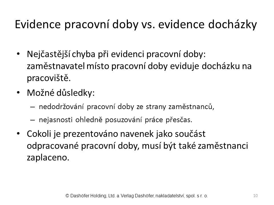 Evidence pracovní doby vs. evidence docházky