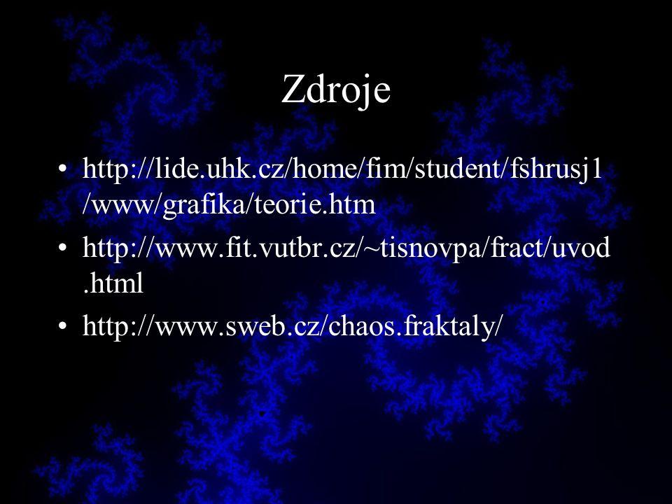 Zdroje http://lide.uhk.cz/home/fim/student/fshrusj1/www/grafika/teorie.htm. http://www.fit.vutbr.cz/~tisnovpa/fract/uvod.html.