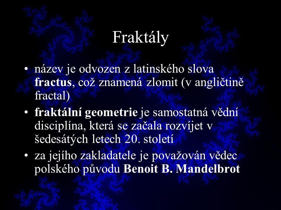 Fraktály název je odvozen z latinského slova fractus, což znamená zlomit (v angličtině fractal)