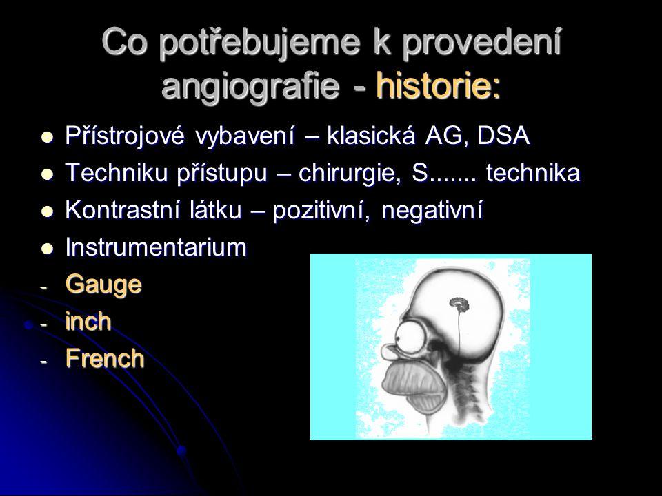 Co potřebujeme k provedení angiografie - historie: