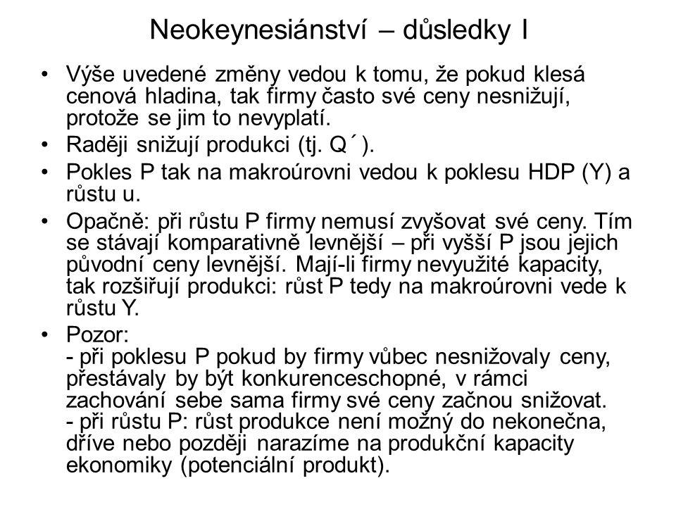 Neokeynesiánství – důsledky I