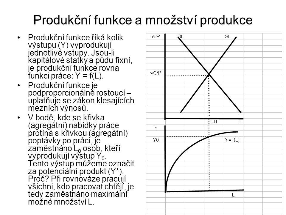 Produkční funkce a množství produkce