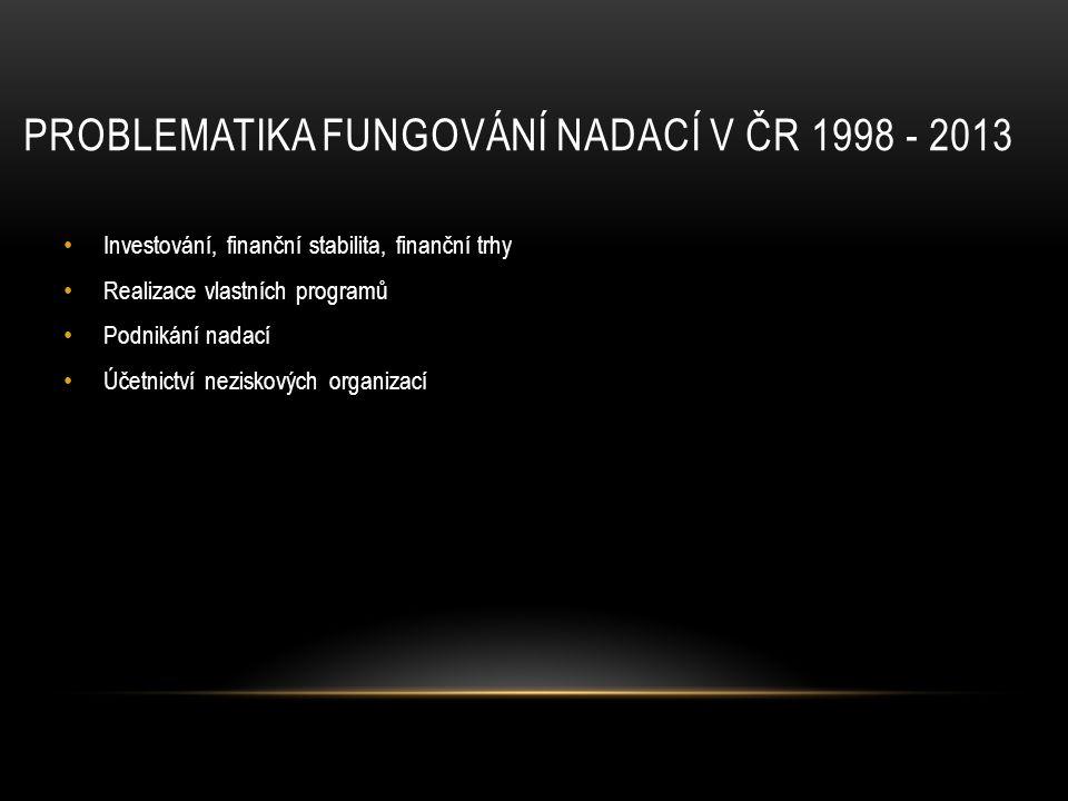 problematika fungování nadací v ČR 1998 - 2013