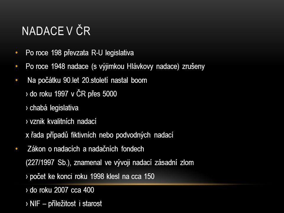 Nadace v ČR Po roce 198 převzata R-U legislativa